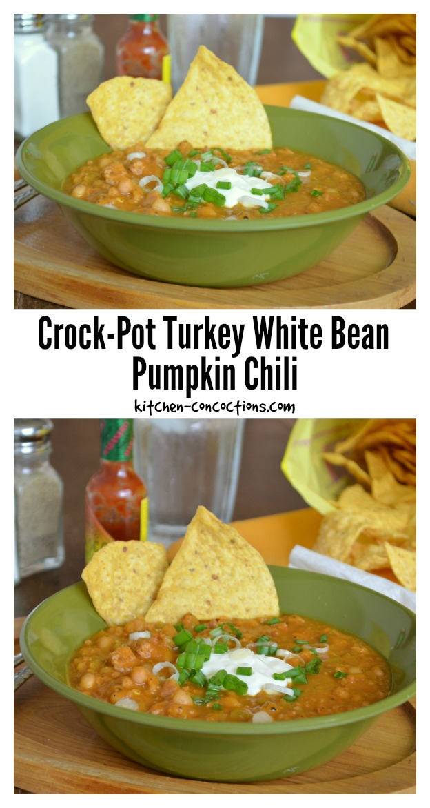 Crock-Pot Turkey White Bean Pumpkin Chili - Kitchen Concoctions