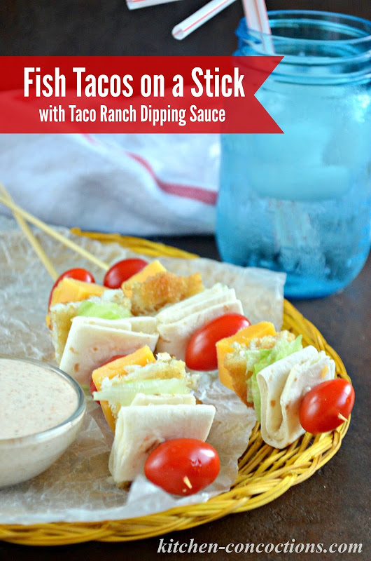 Fish Tacos on a Stick with Taco Ranch Dipping Sauce {Kids in the Kitchen}