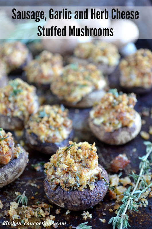 Sausage, Garlic and Herb Cheese Stuffed Mushrooms {Plus 5 Minute Antipasto Platter From Pantry Staples}