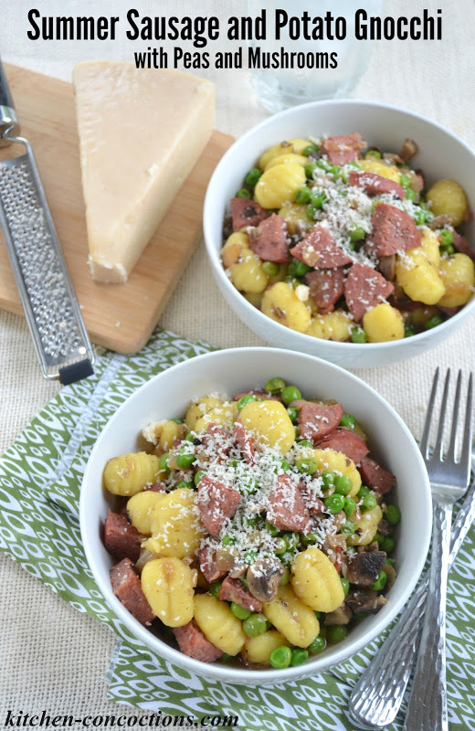 Summer Sausage and Potato Gnocchi with Peas and Mushrooms {Plus a Giveaway!}