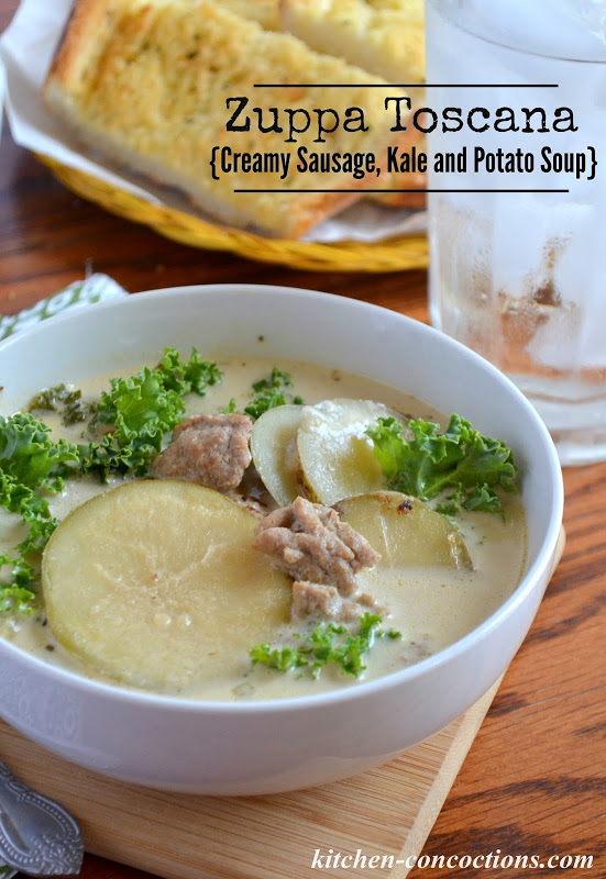 Zuppa Toscana {Creamy Sausage, Kale and Potato Soup}