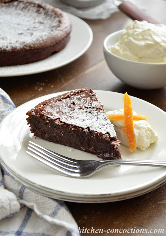 Flourless Chocolate Cake with Orange Whipped Cream and Candied Orange ...