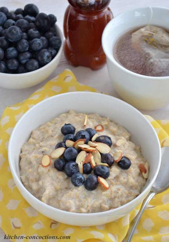 Lemon Ricotta Oatmeal with Blueberries and Almonds