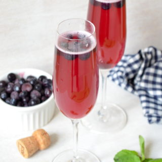 Blueberry Lime Mimosas {Plus DIY Bow Tie Champagne Flutes}