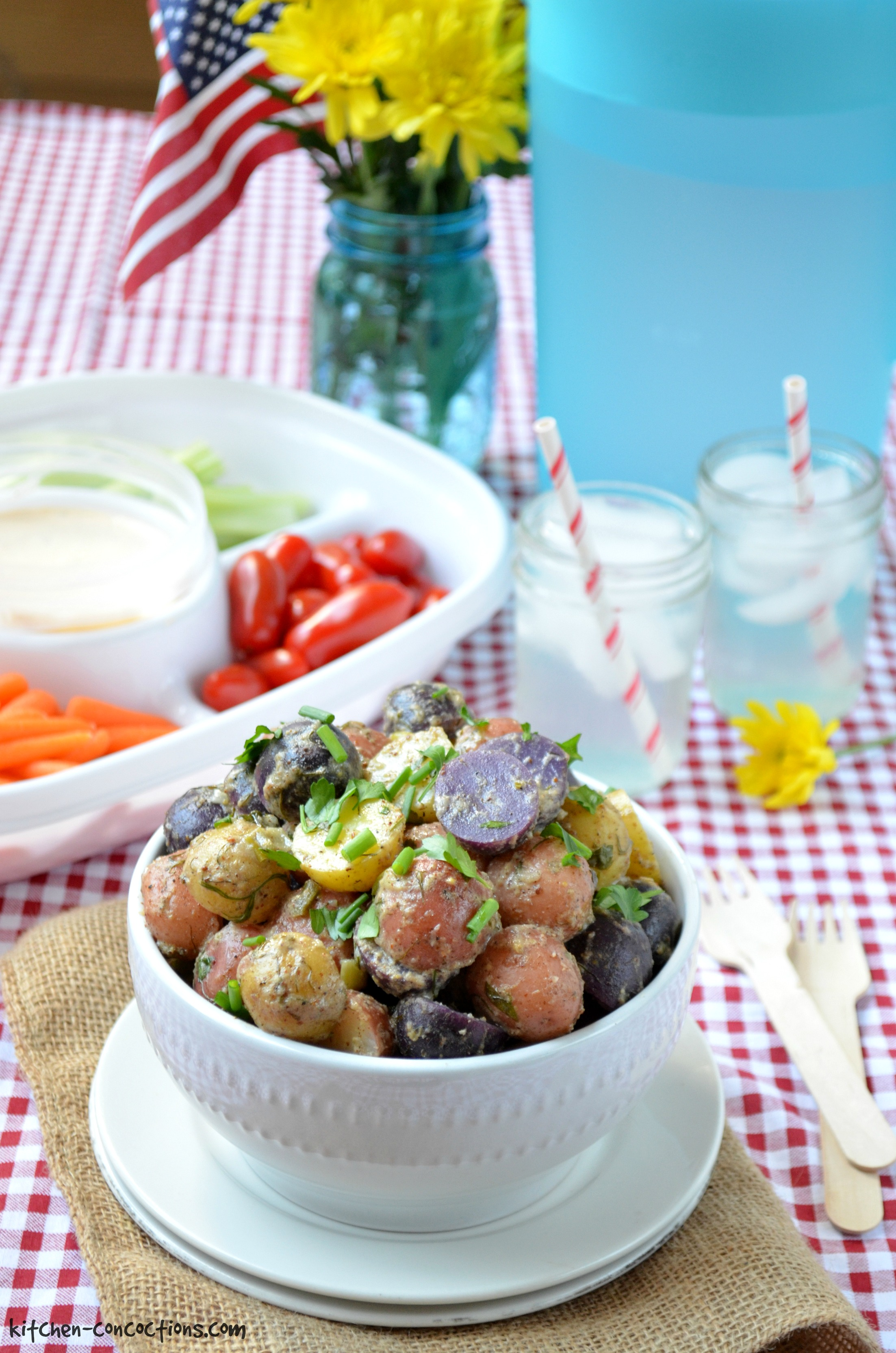 Red, White and Blue Potato Salad - Kitchen Concoctions
