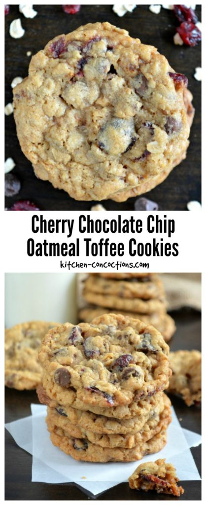 Cherry Chocolate Chip Oatmeal Toffee Cookies - Kitchen Concoctions
