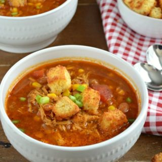 BBQ Chicken Soup with Cornbread Croutons