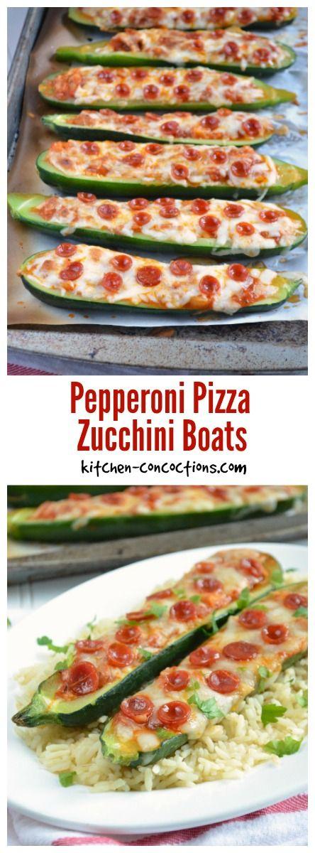 Pepperoni Pizza Zucchini Boats