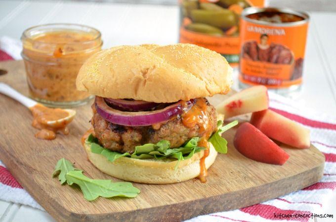 Pork Burgers with Chipotle Peach Mayo