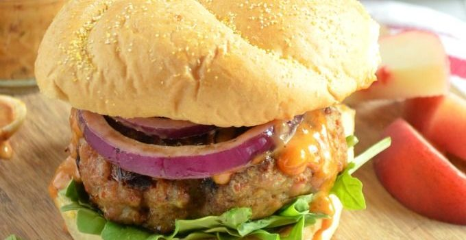 Spicy Pork Burgers with Chipotle Peach Mayo