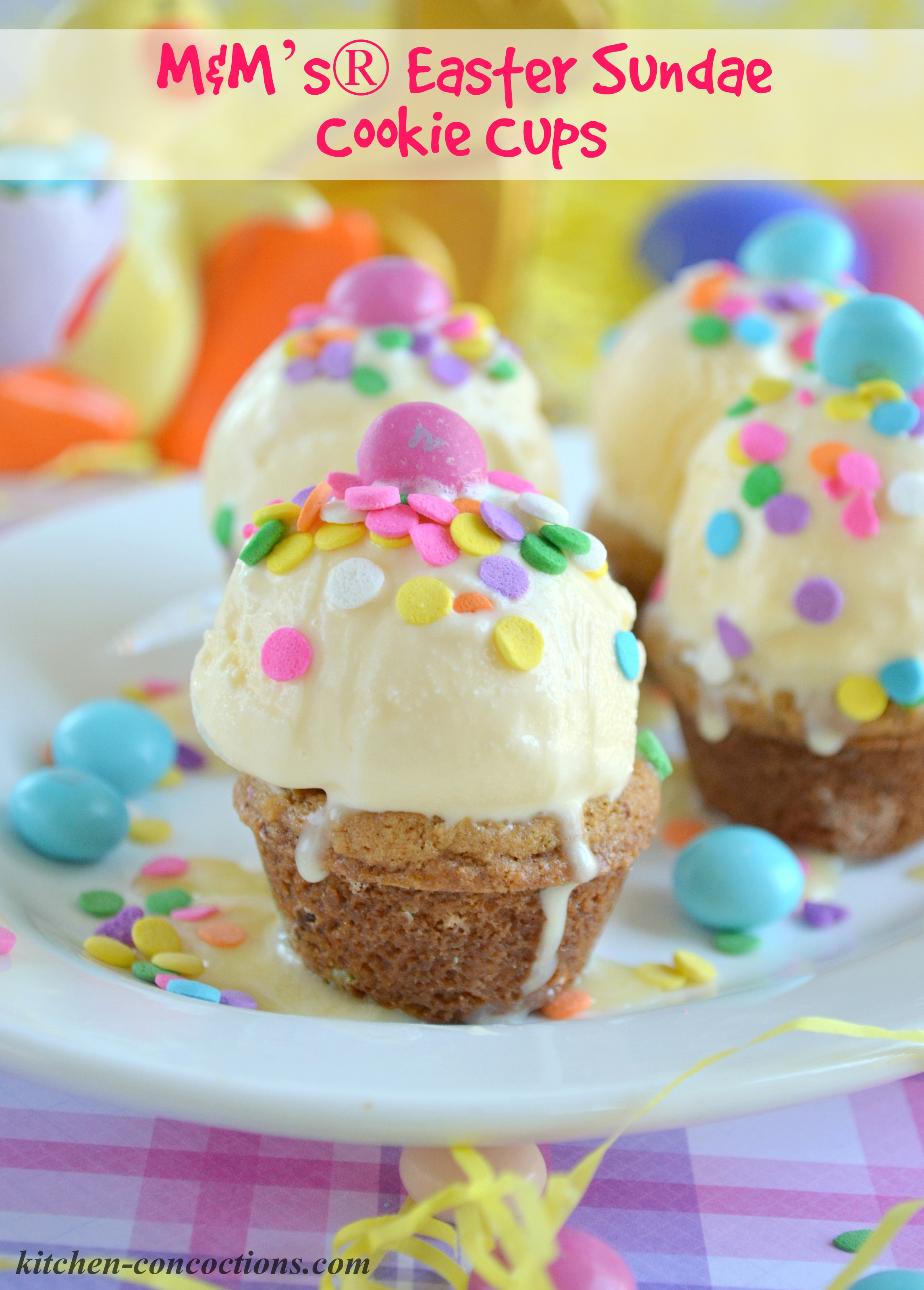 MampMs Easter Sundae Cookie Cups Kitchen Concoctions