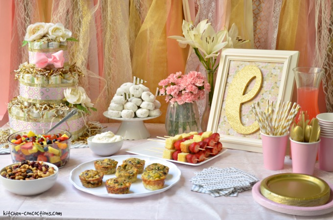 pink and gold baby shower and strawberry shortcake skewers kitchen concoctions